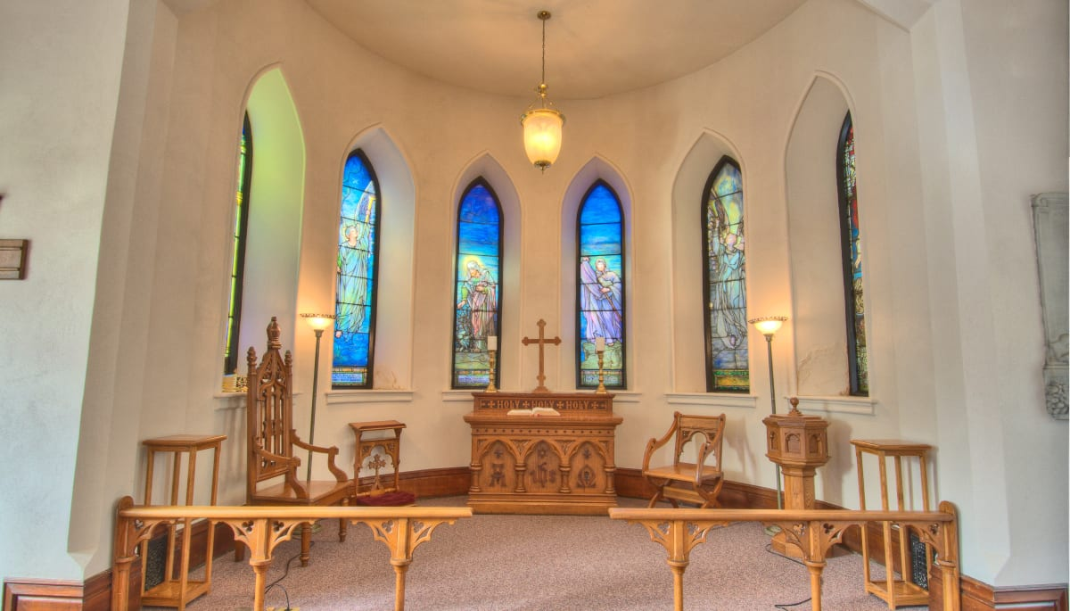 The community religious center and stained glass windows at Touchmark at All Saints in Sioux Falls, South Dakota