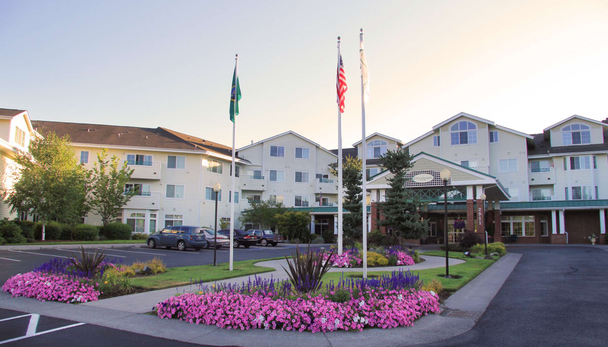 Landscaping in front of Touchmark at Fairway Village in Vancouver, Washington