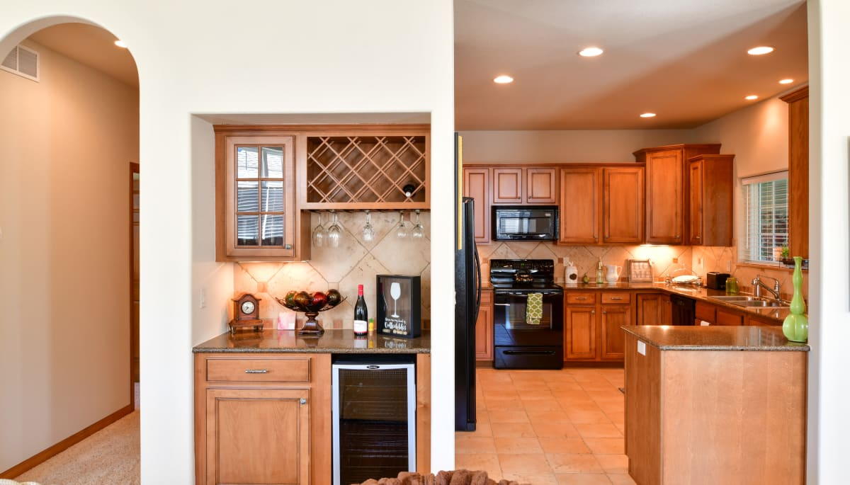An apartment kitchen at Touchmark on West Prospect in Appleton, Wisconsin