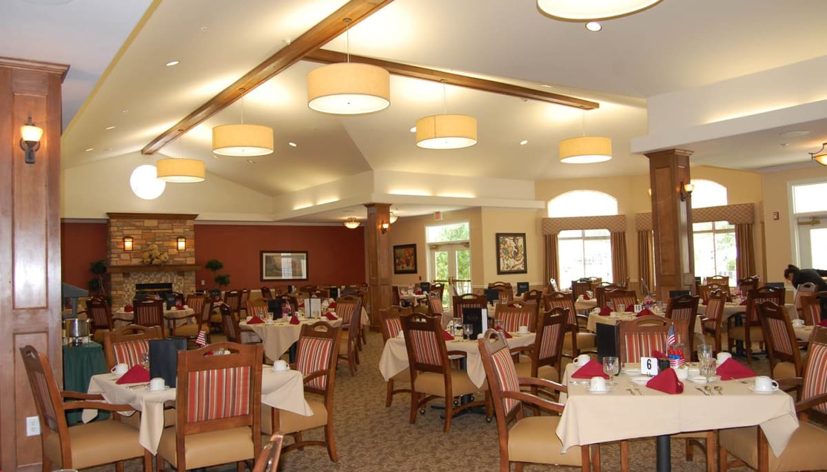 The community dining room at Touchmark on West Prospect in Appleton, Wisconsin
