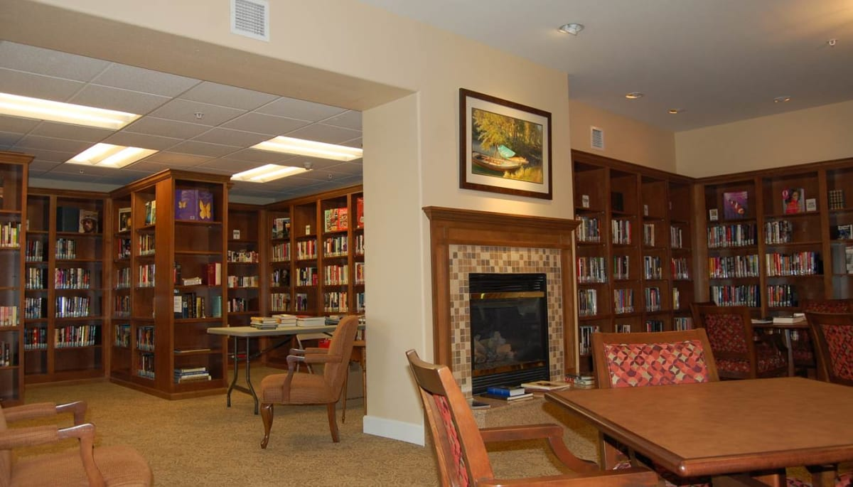 A quiet reading room at Touchmark on West Prospect in Appleton, Wisconsin