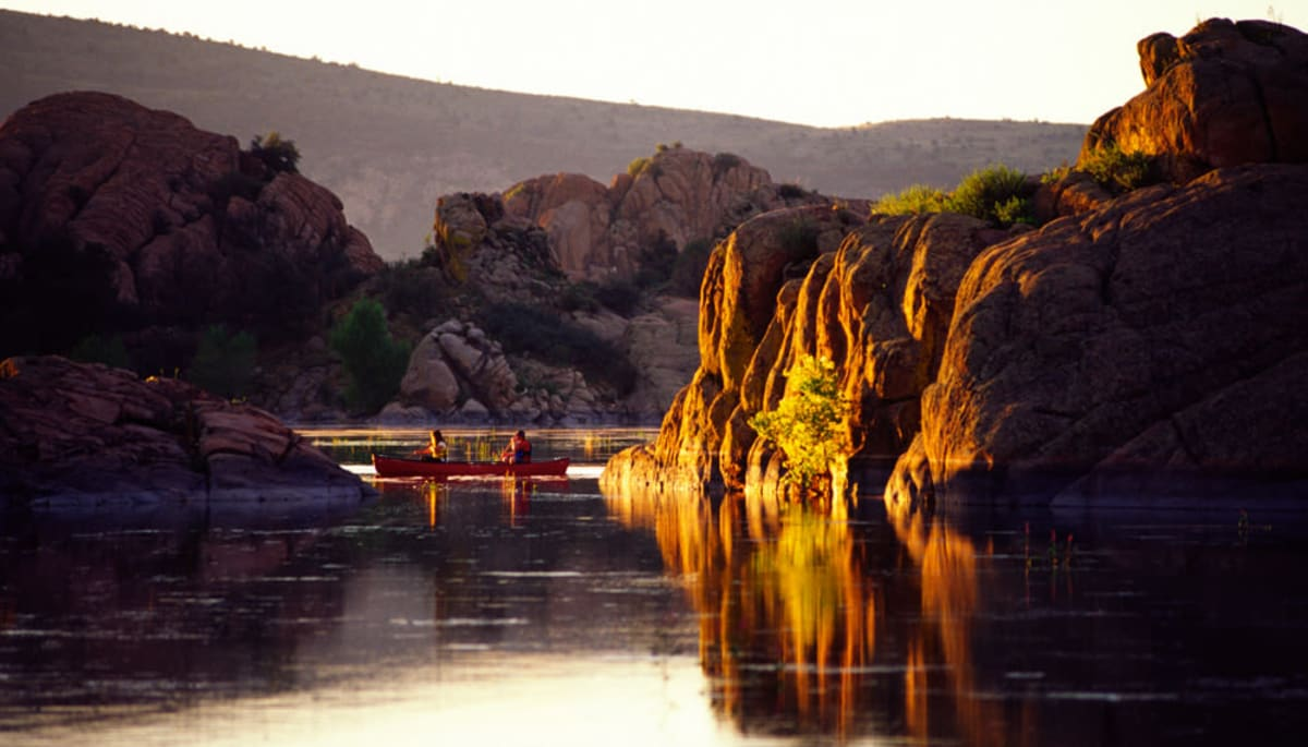 Two residents from Touchmark at The Ranch in Prescott, Arizona canoeing