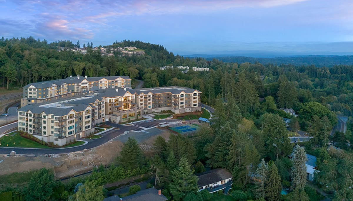 An aerial view of Touchmark in the West Hills in Portland, Oregon