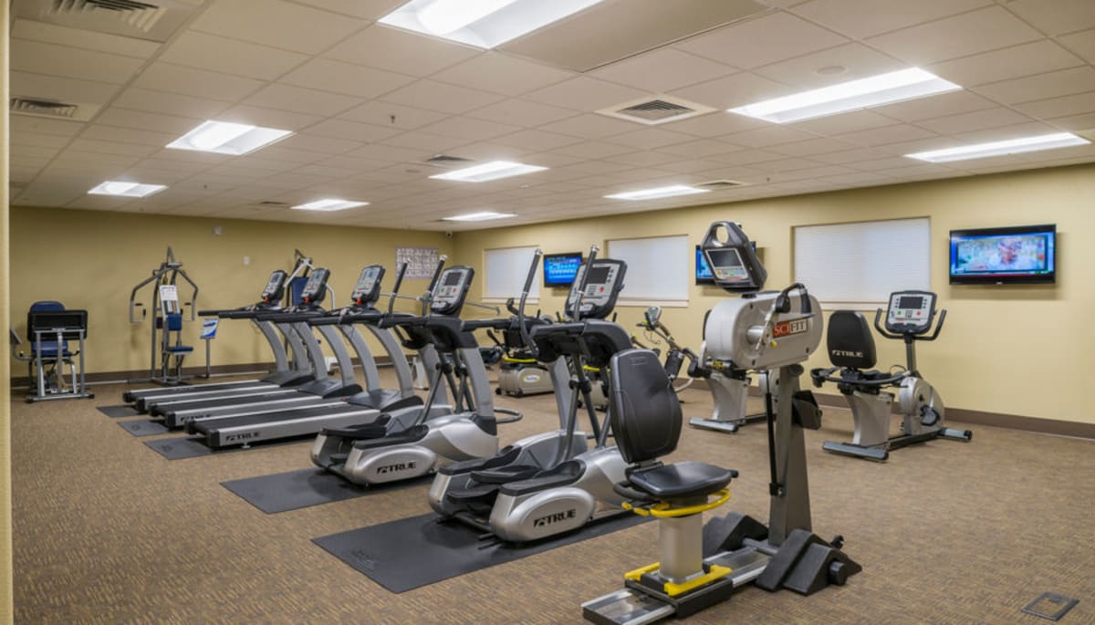 An onsite gym at Touchmark at Meadow Lake Village in Meridian, Idaho