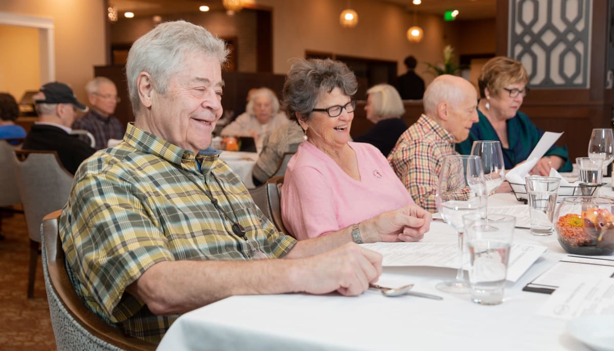 residents dining in dining room of Touchmark in the West Hills in Portland, Oregon