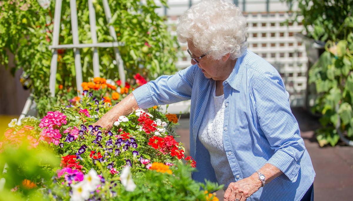 resident planting flowers