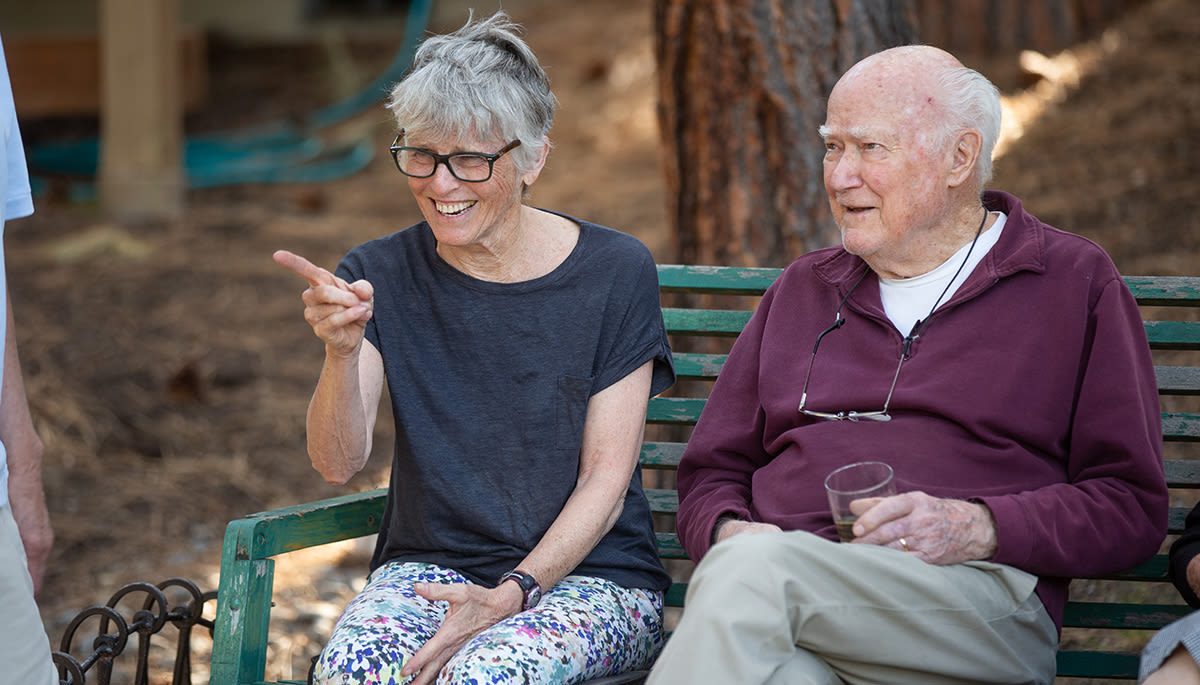 two seniors enjoying the outdoor weather