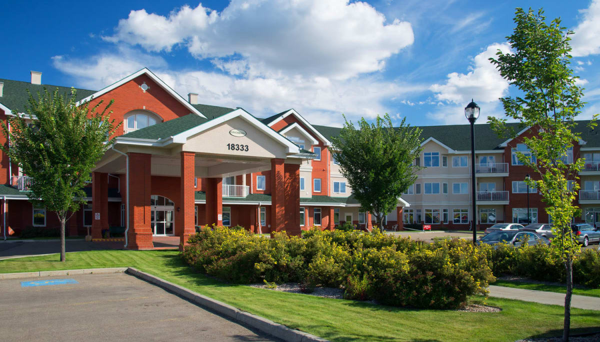 The main entrance at Touchmark at Wedgewood in Edmonton, Alberta