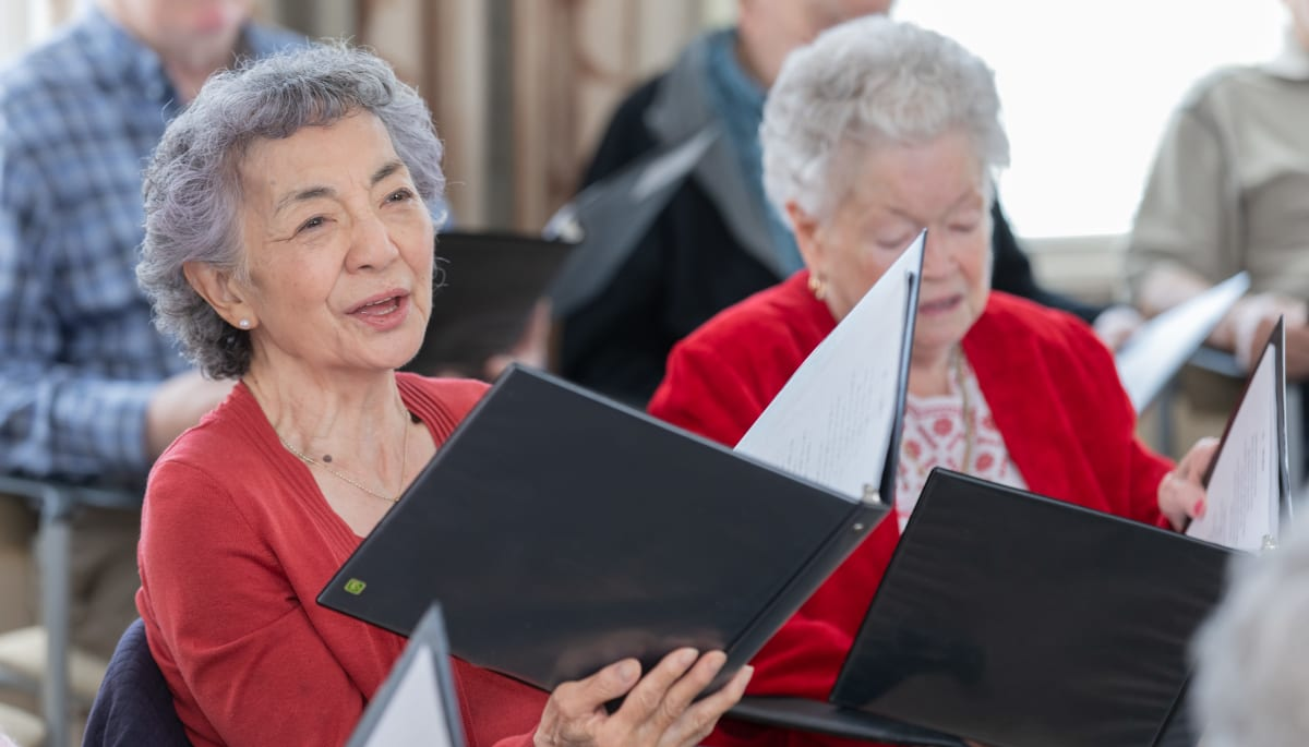 residents singing at Touchmark at Wedgewood in Edmonton, Alberta
