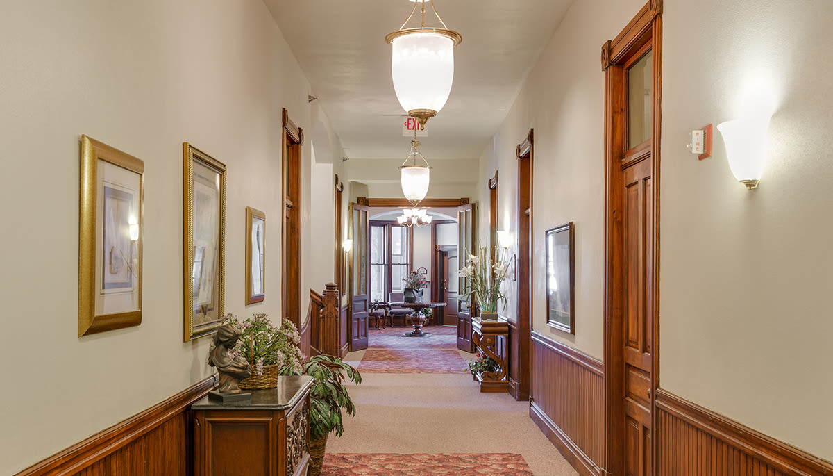 Large hallway with plants