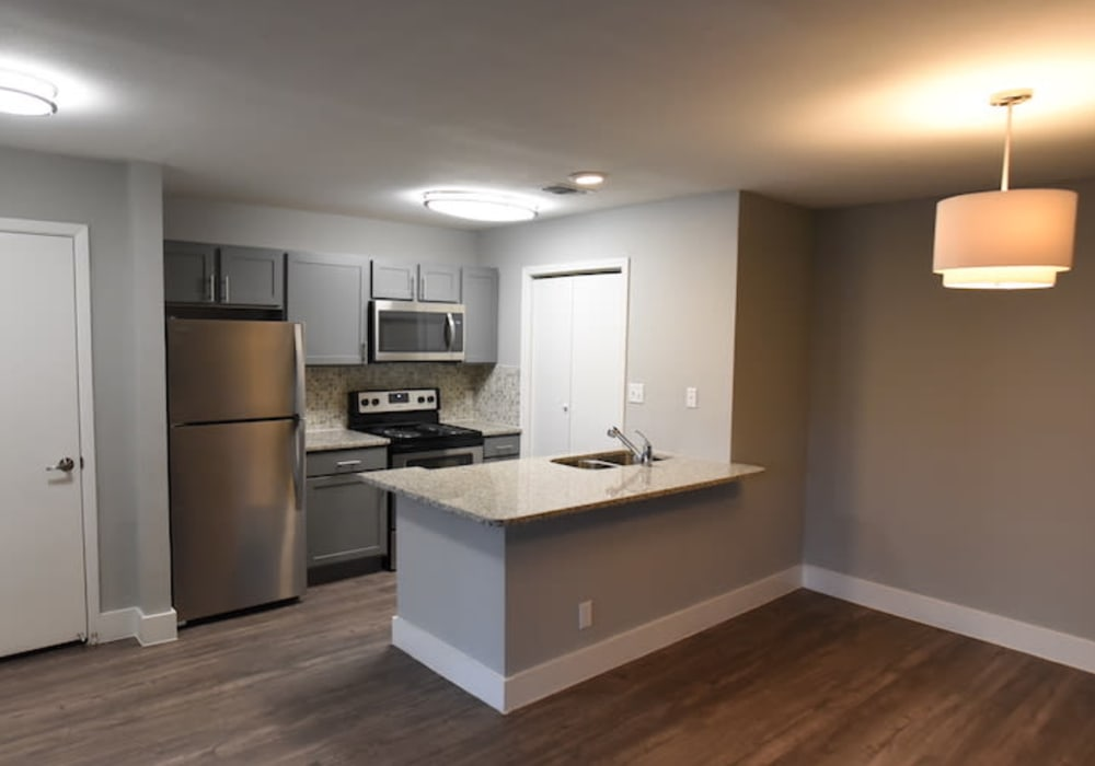 Fully equipped kitchen at Turtle Creek Vista Apartments in San Antonio, Texas