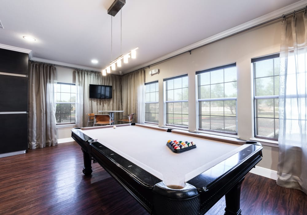 Billiards table at Pavilions at Northshore cluhouse in Portland, Texas