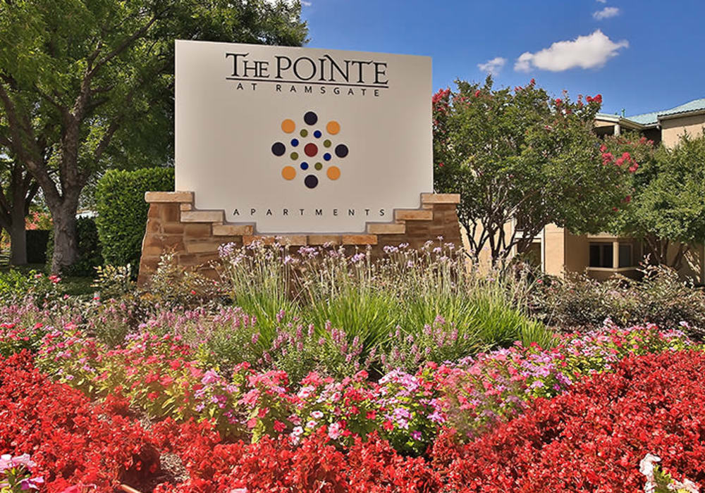 Entrance sign at The Pointe at Ramsgate in San Antonio, Texas
