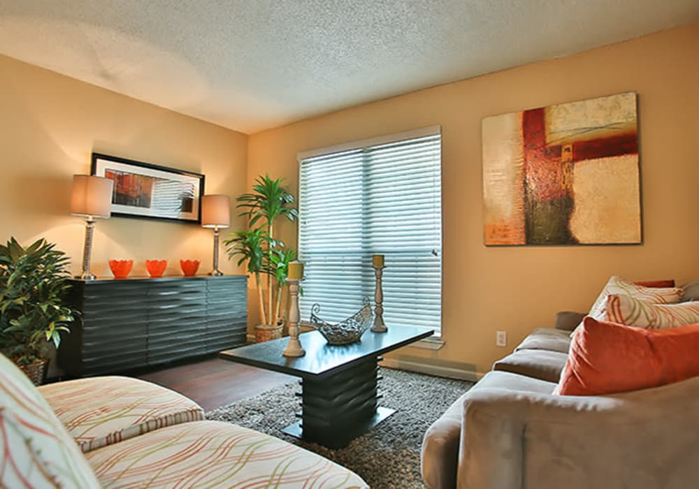 Lovely living room layout at The Pointe at Ramsgate in San Antonio, Texas