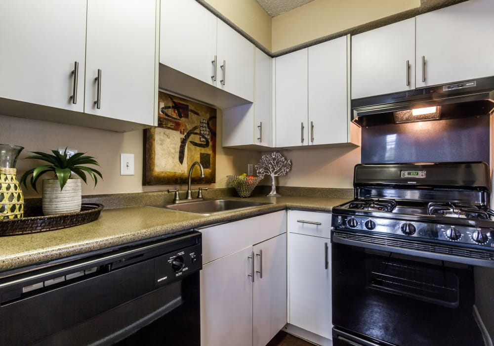 Fully equipped kitchen at The Pointe at Ramsgate in San Antonio, Texas