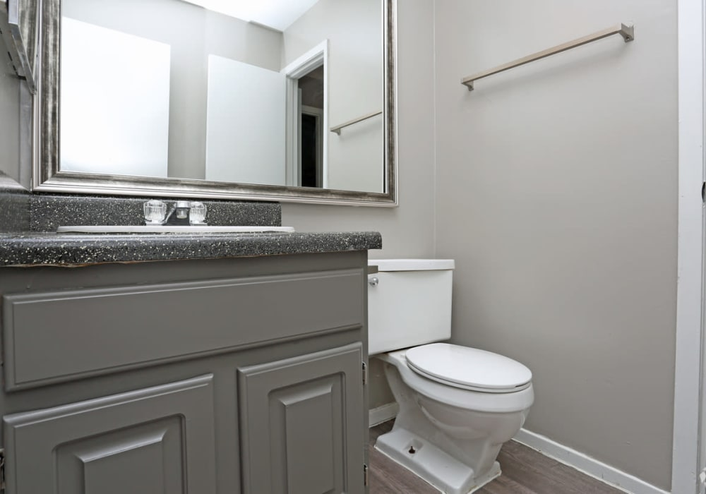 Model bathroom layout at Riverstone Apartments in Bryan, Texas