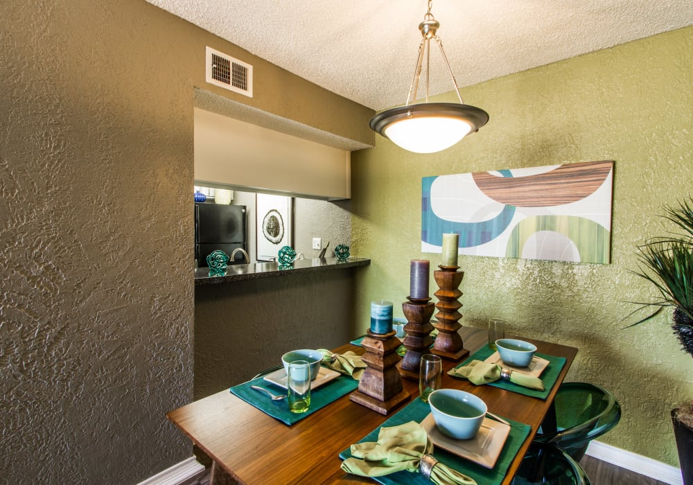 Dining room table at Sundance Apartments in College Station, Texas