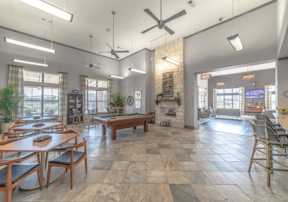 Clubhouse and billiard table at Ethos Apartments in Austin, Texas