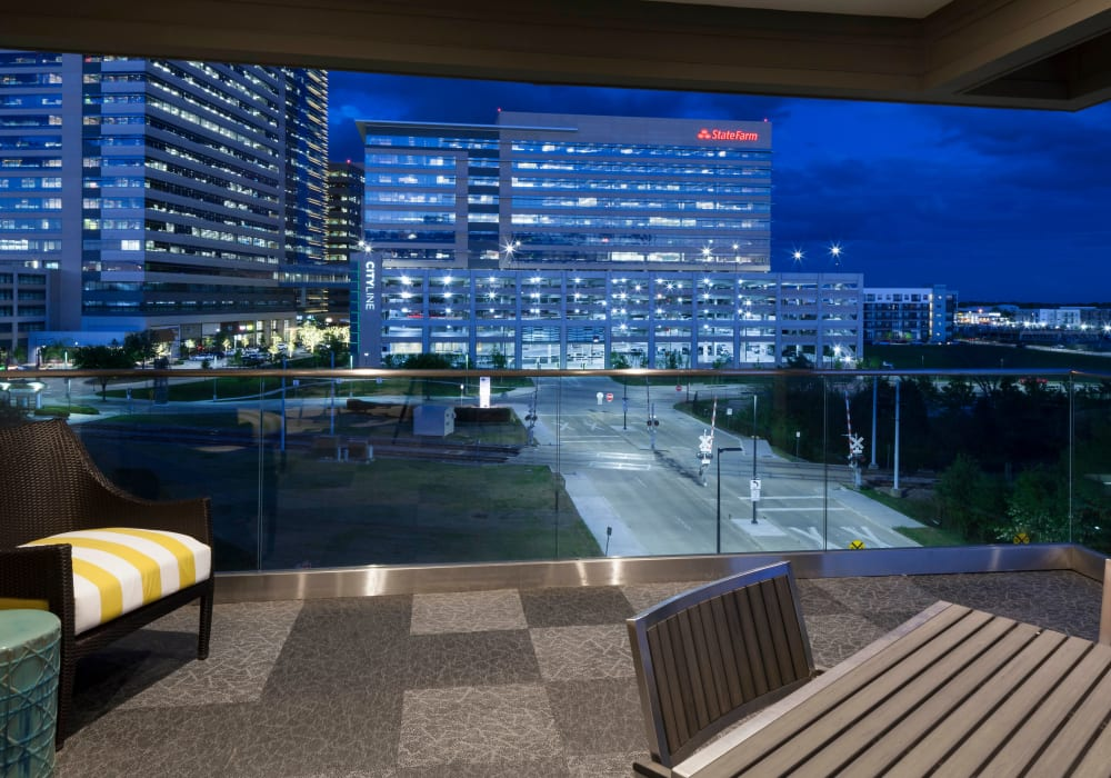 Glass wall at Axis 110 in Richardson, Texas