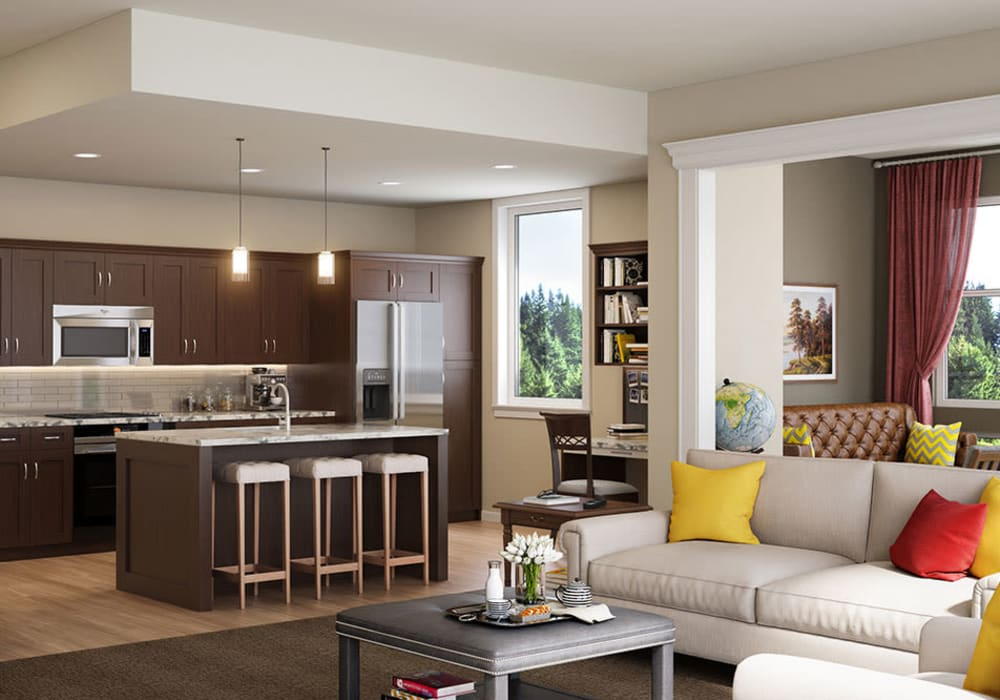 Kitchen and a living room at Touchmark in the West Hills in Portland, Oregon