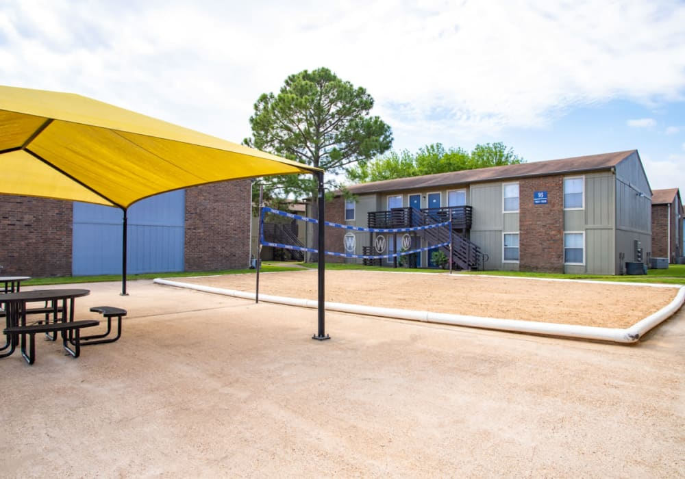 Enjoy the volley ball net at Willowick Apartments in College Station, Texas