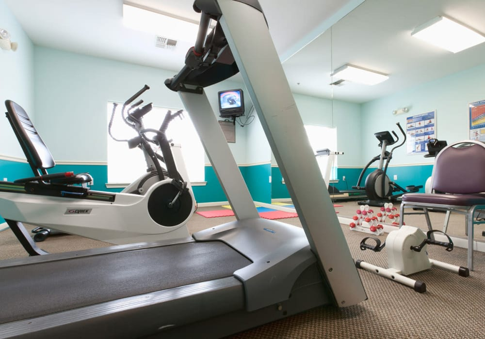 Fitness center at Village on the Park Steeplechase in Houston, Texas