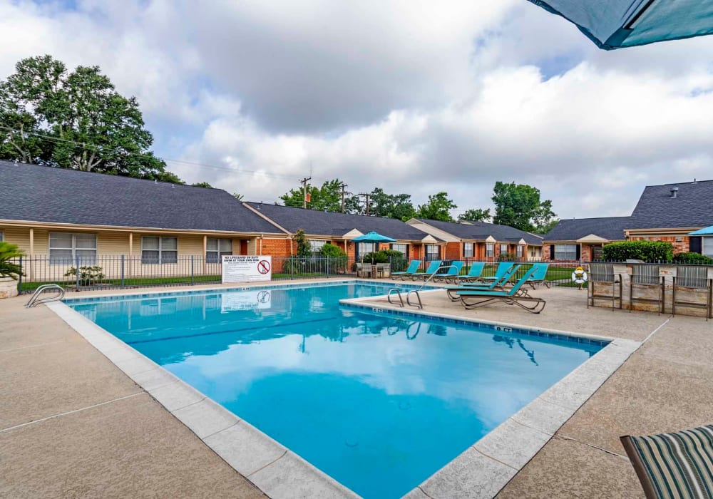 Pool area at Willow Oaks Apartments