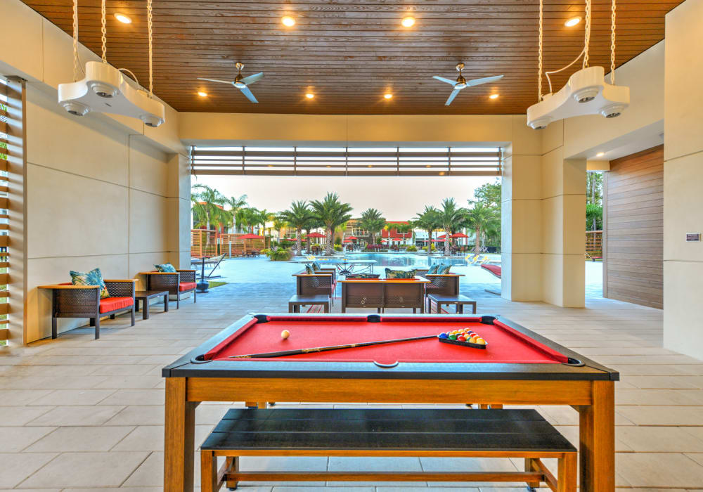 Clubhouse game area at Luxor Club in Jacksonville, Florida