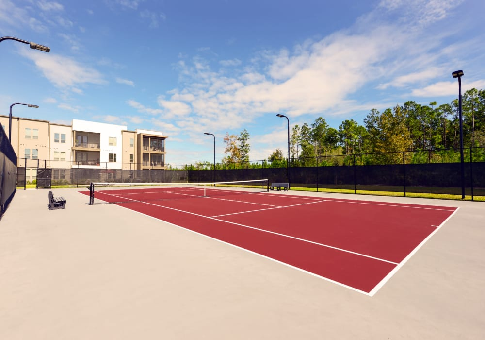 Lighted tennis court at Luxor Club in Jacksonville, Florida