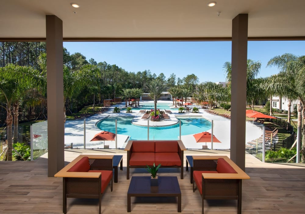 Lounge overlooking the pool at Luxor Club in Jacksonville, Florida