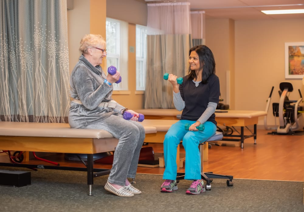 Resident doing therapy at Mission Healthcare at Bellevue in Bellevue, Washington.