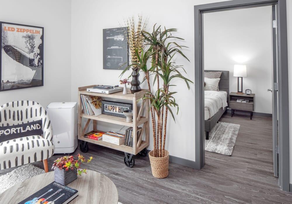 Model living room at Parallax Apartments in Portland, Oregon