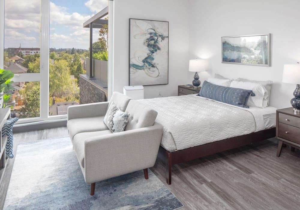 Spacious living room model of Parallax Apartments in Portland, Oregon