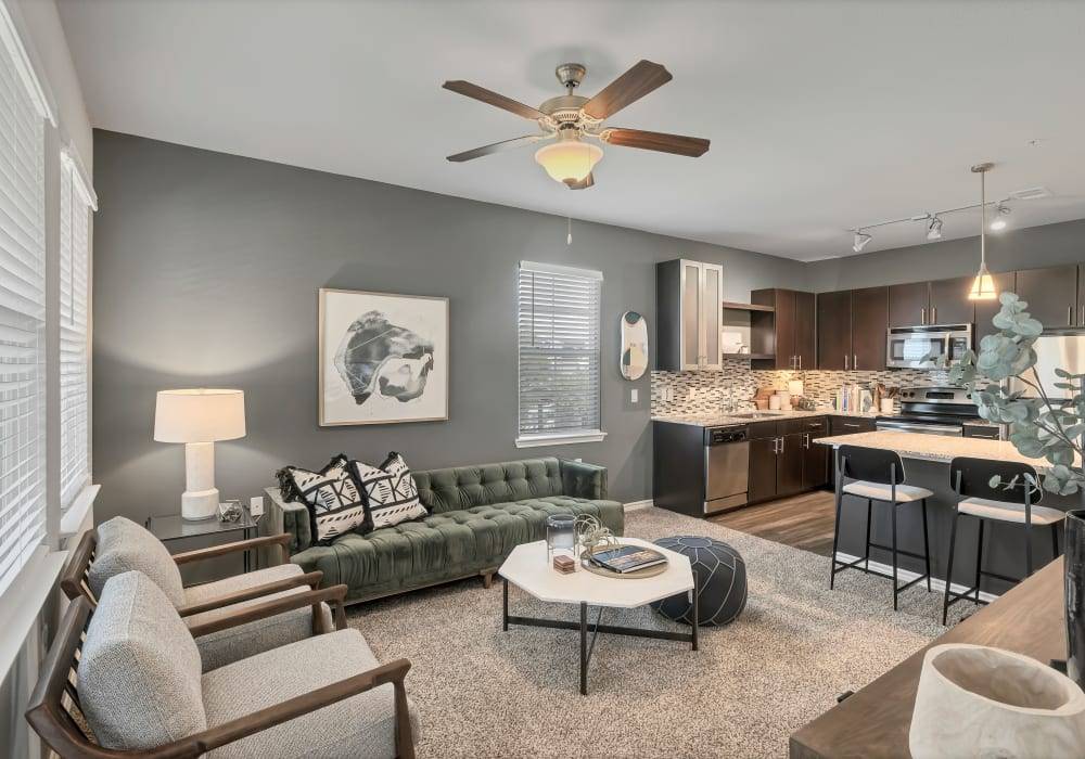Model living room at Wiregrass at Stone Oak in San Antonio, Texas