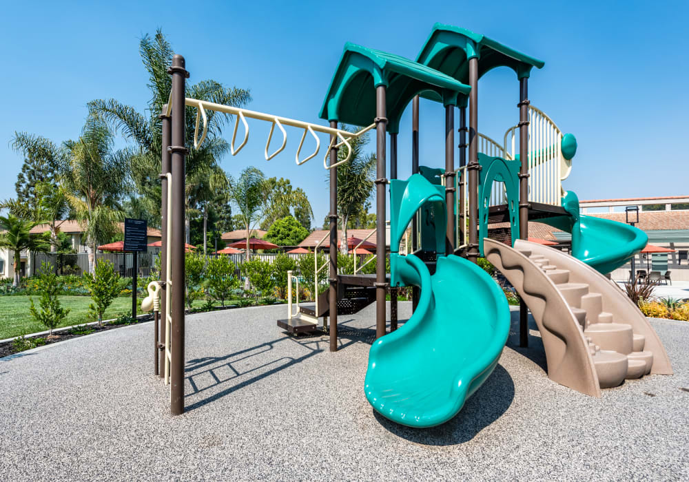 Onsite children's playground surrounded by well-maintained green grass at Sofi Ventura in Ventura, California