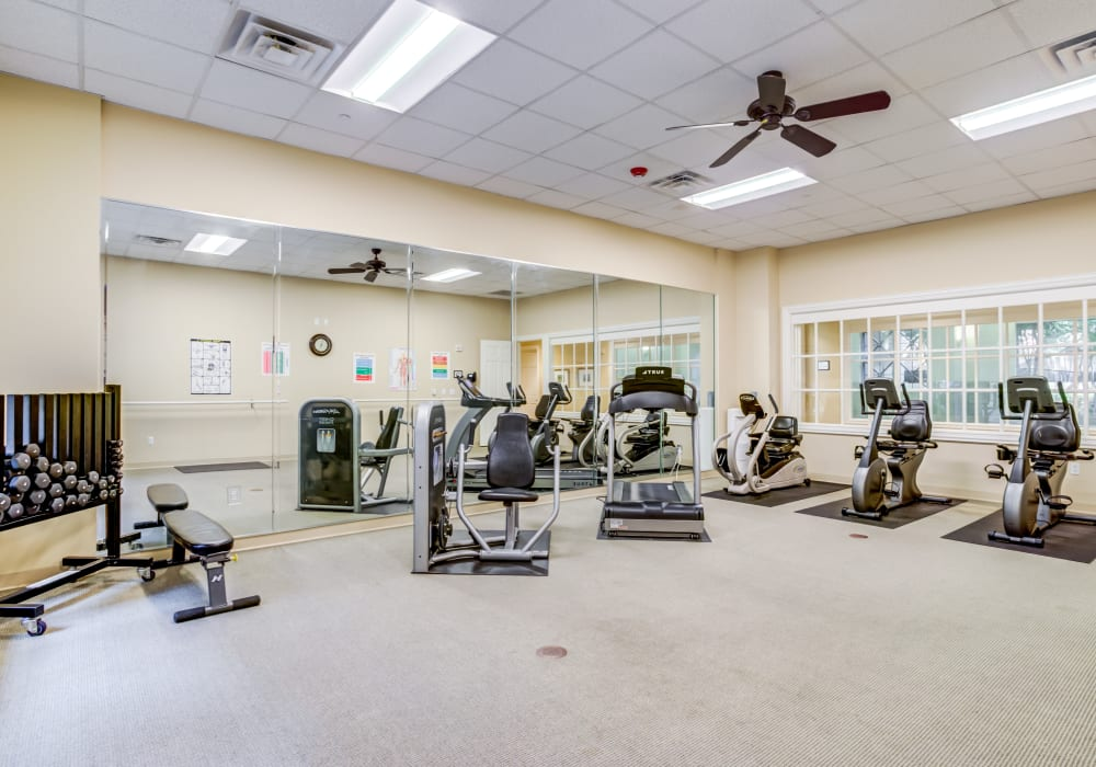 Fully equipped gym at The Village of Tanglewood in Houston, Texas