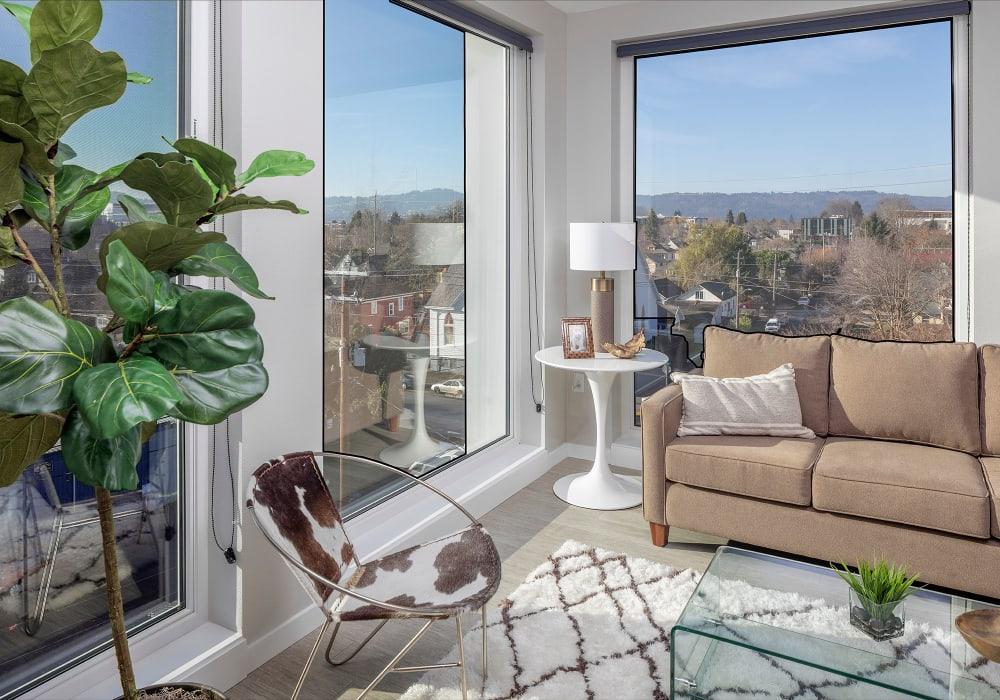 Model living room at Division Terrace in Portland, Oregon