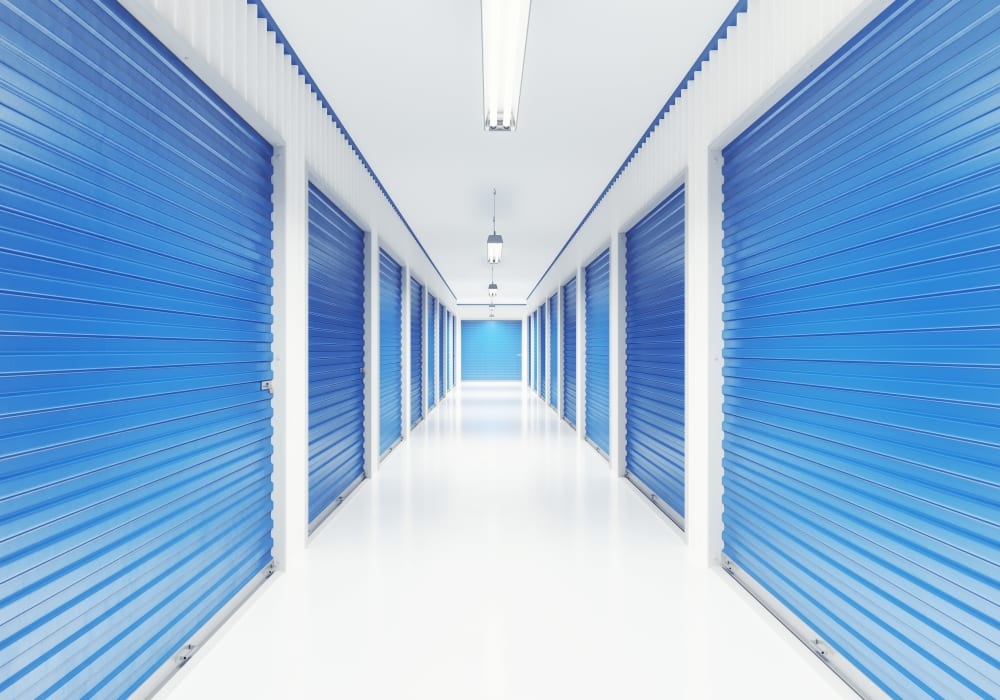 Interior climate-controlled units at Vault Self Storage in Holland Landing, Ontario