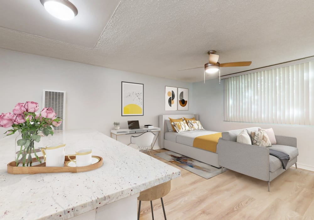 View a virtual tour of our studio apartments with a free-standing kitchen island at Casa Granada in Los Angeles, California