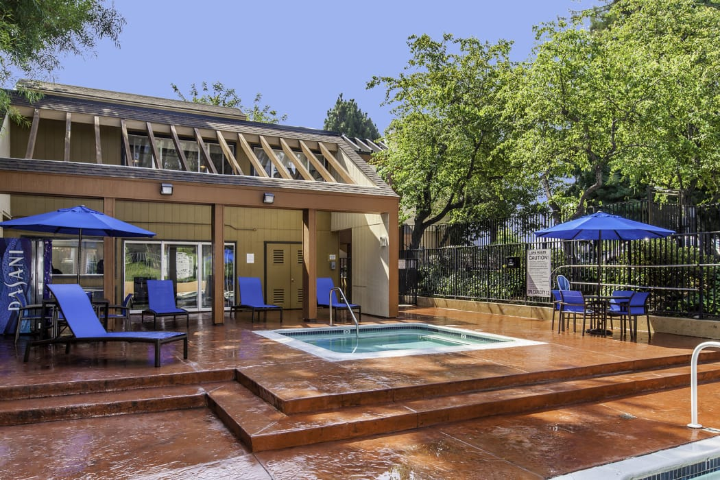spa and lounge areas at The Timbers Apartments in Hayward