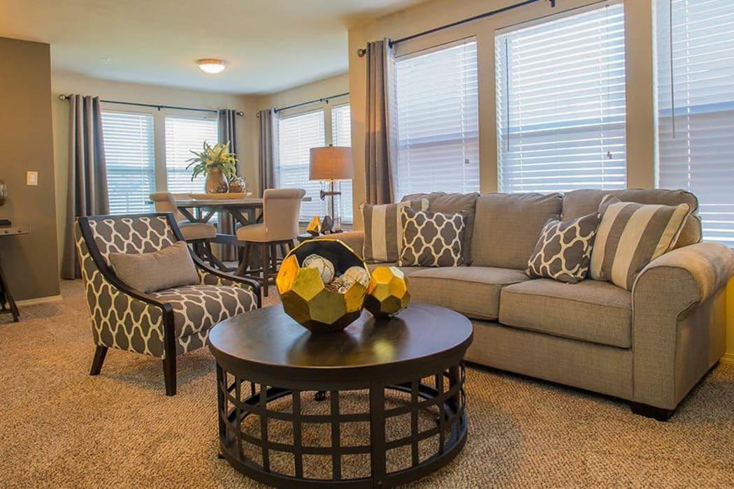 Wonderful living room at Icon at Broken Arrow in Broken Arrow, Oklahoma