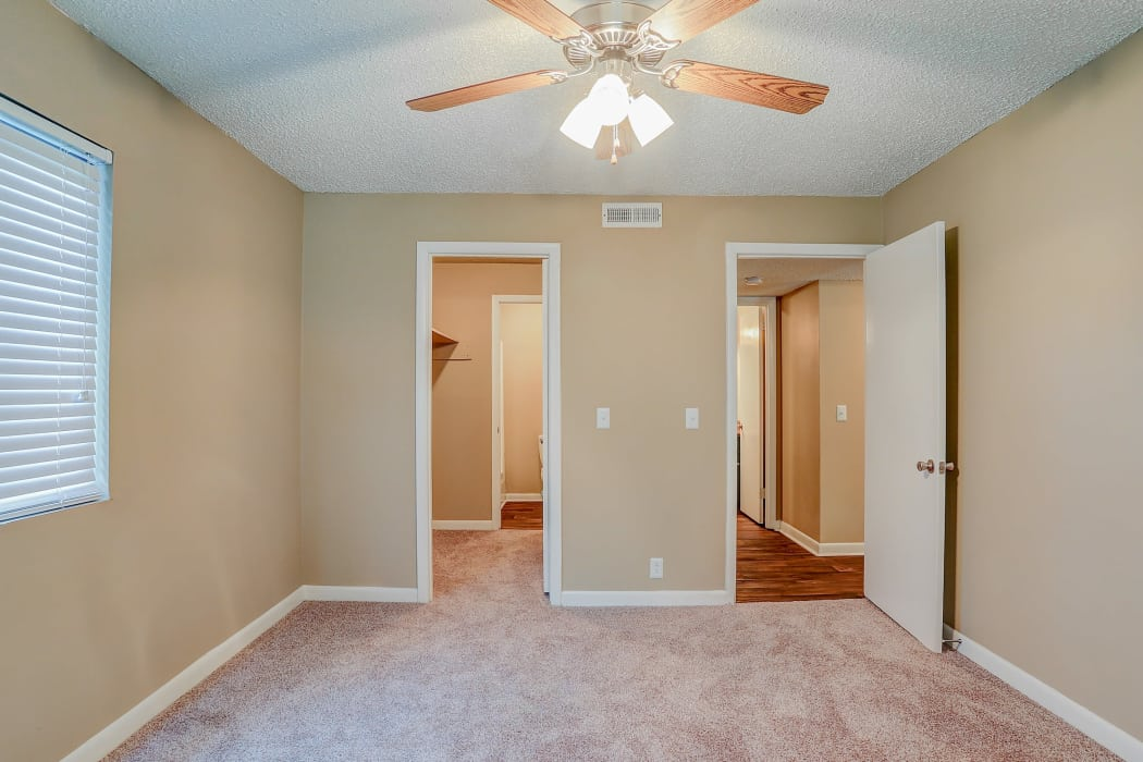 master bedroom and walk in closet at Parkview Flats in Murfreesboro, TN