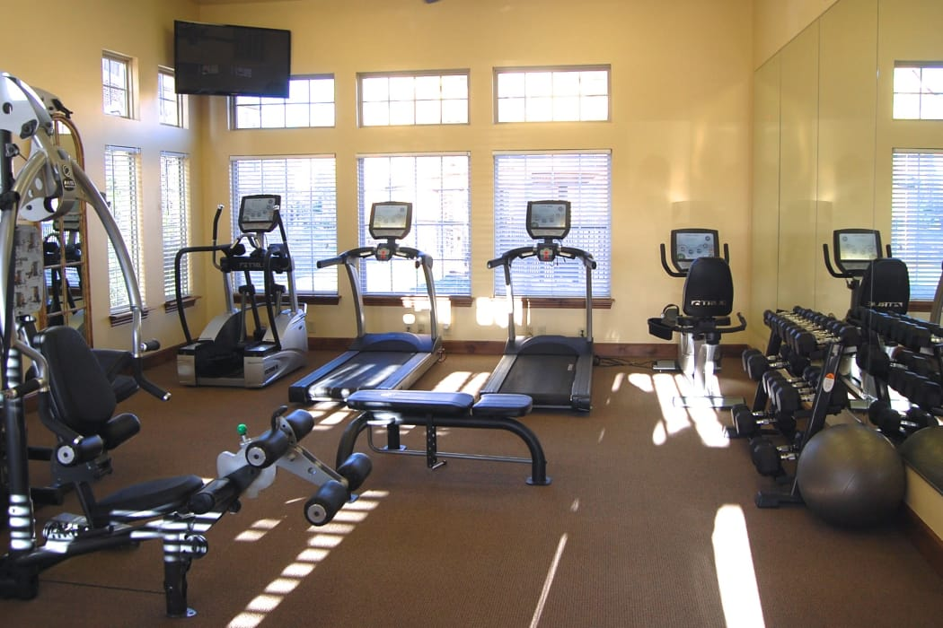 Fully equipped fitness center for residents at Park at Coulter in Amarillo, Texas
