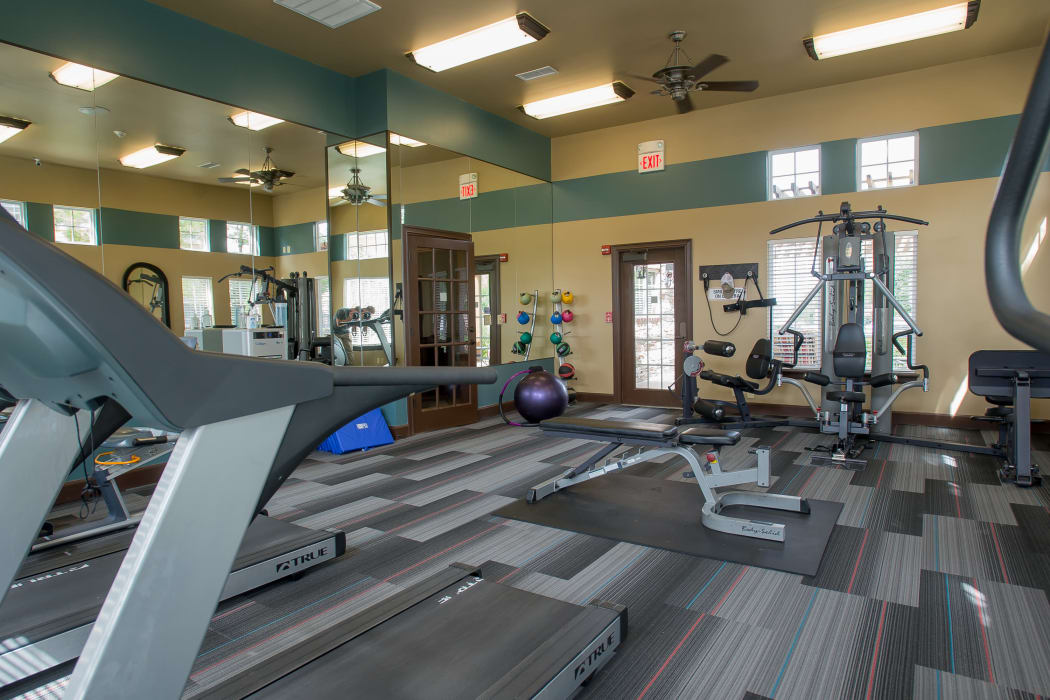 Fully equipped fitness center at Park at Mission Hills in Broken Arrow, Oklahoma