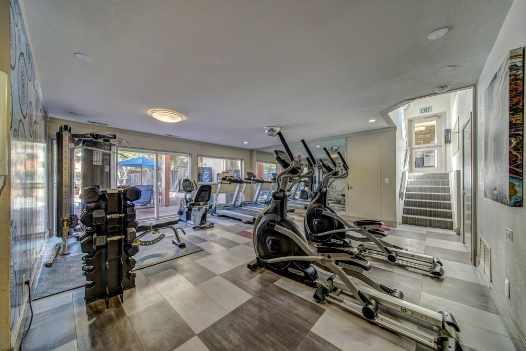 Fitness center fully-equipped at The Timbers Apartments in Hayward