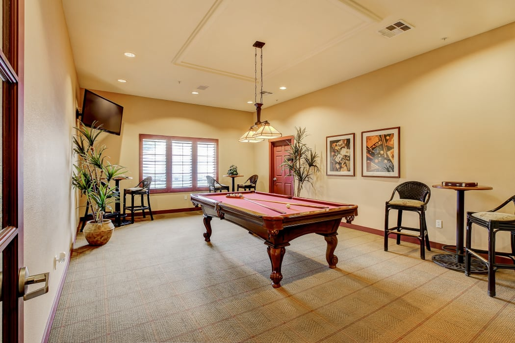 Billiards table in the clubhouse at Eaglewood Apartments in Woodland, California