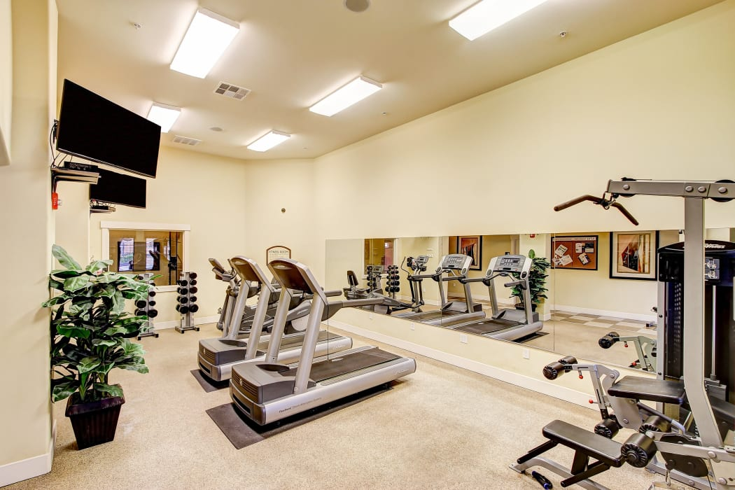 Well-equipped fitness center at Sierra Oaks Apartments in Turlock, California