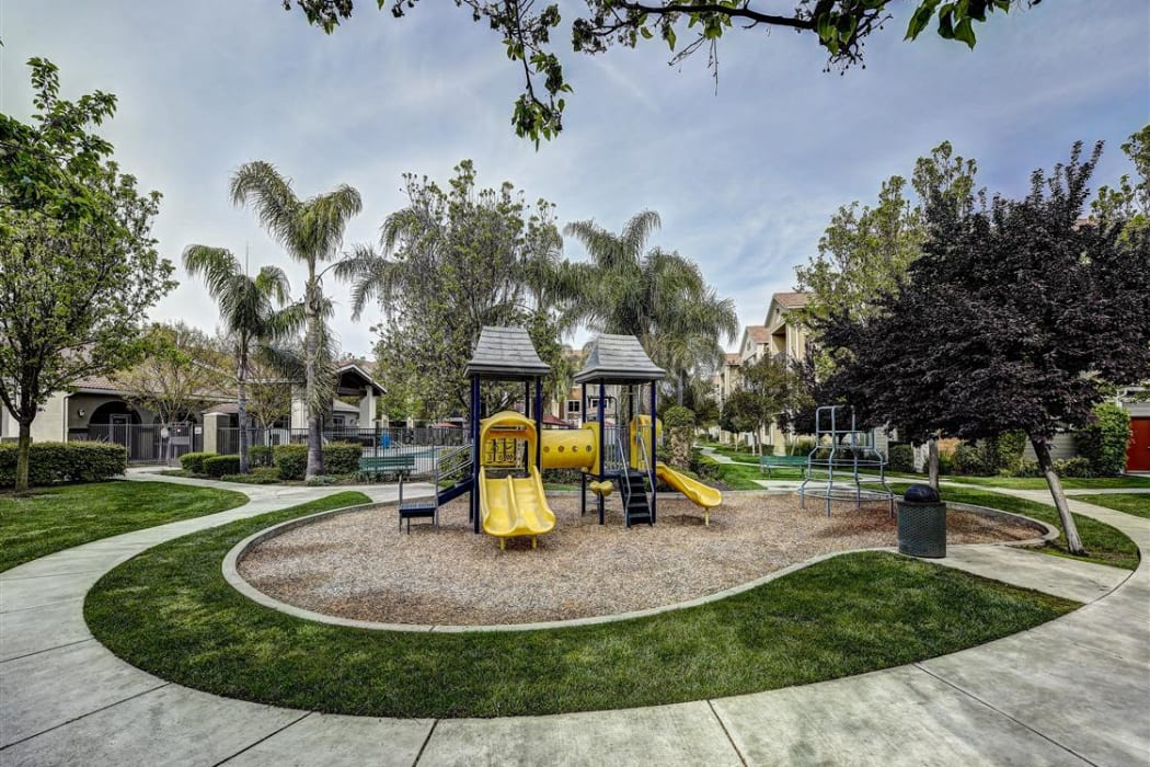 Onsite children's playground at Sierra Oaks Apartments in Turlock, California
