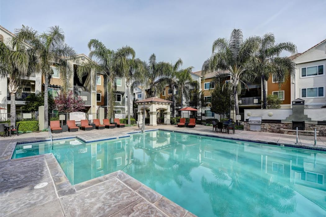 Gorgeous resort-style swimming pool at Sierra Oaks Apartments in Turlock, California
