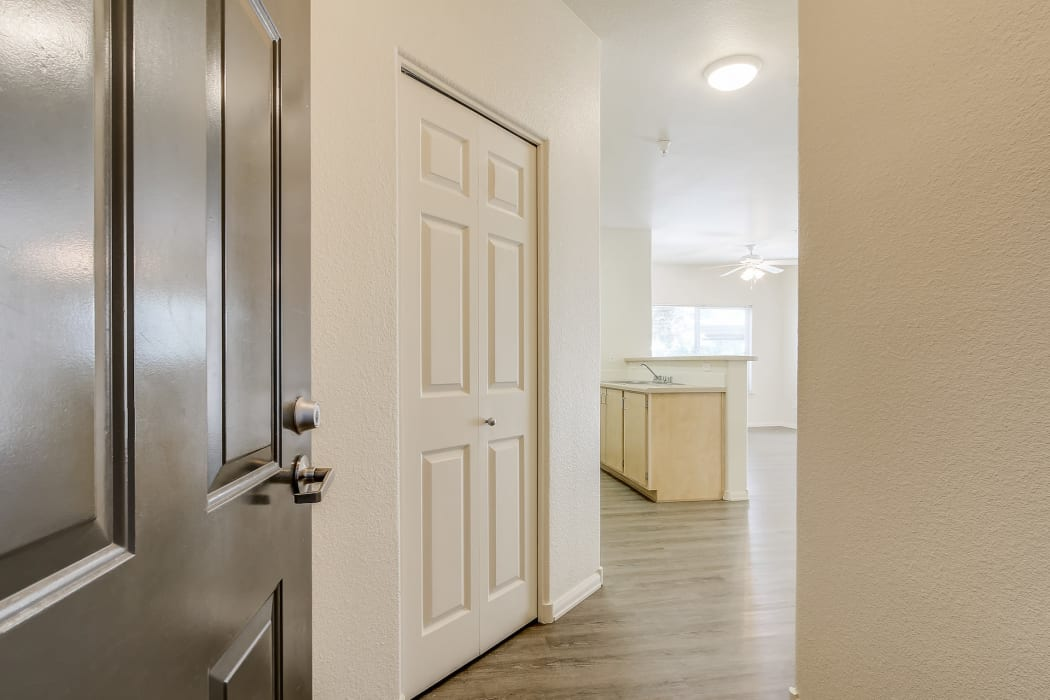 Front entrance to apartment at Eaglewood Apartments in Woodland, California